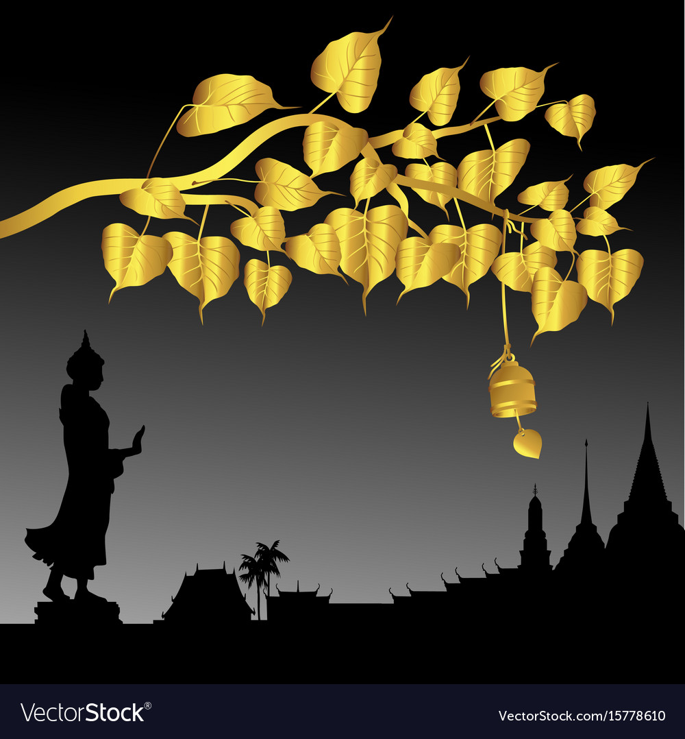 Buddha statue and gold bodhi tree with golden vector image