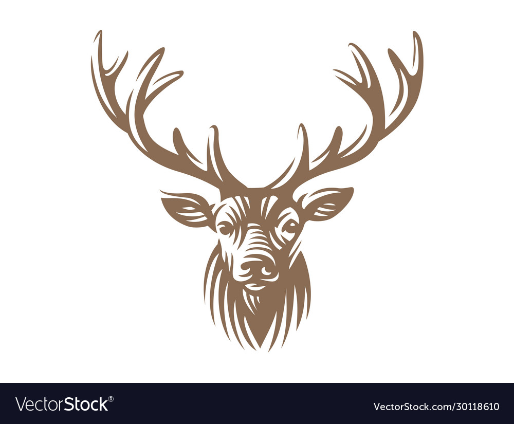 Deer head emblem isolated on white background