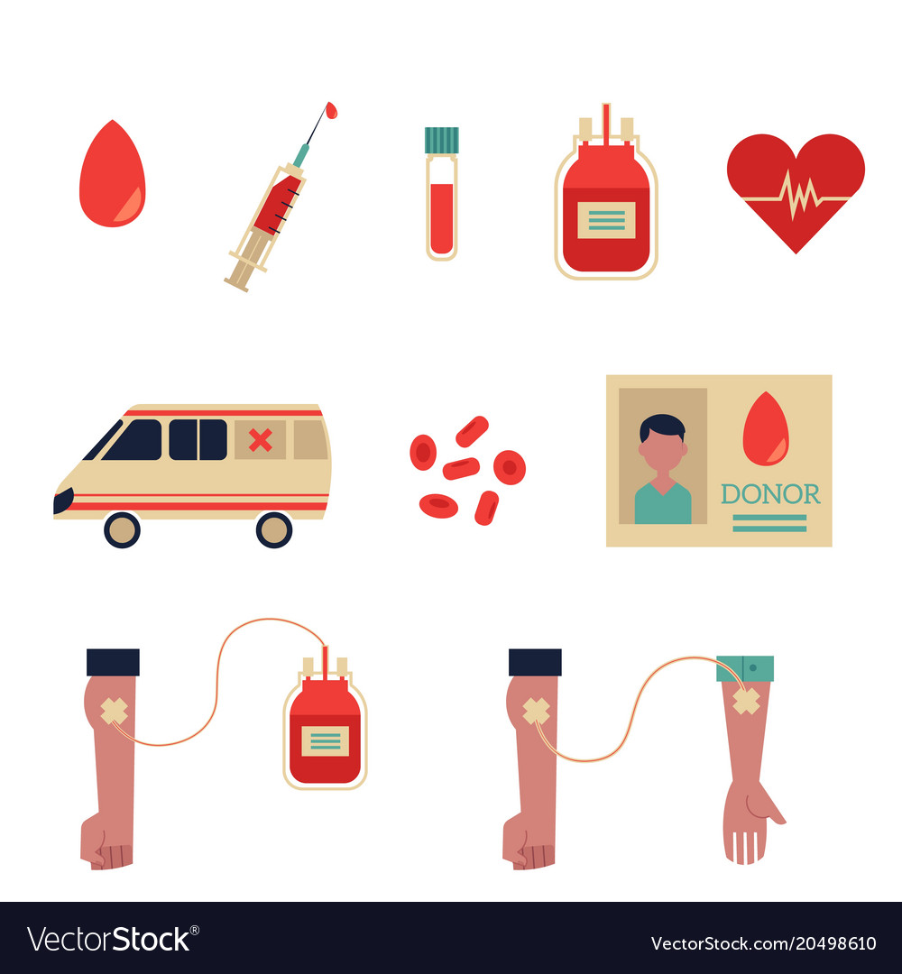 Flat blood donation symbols set