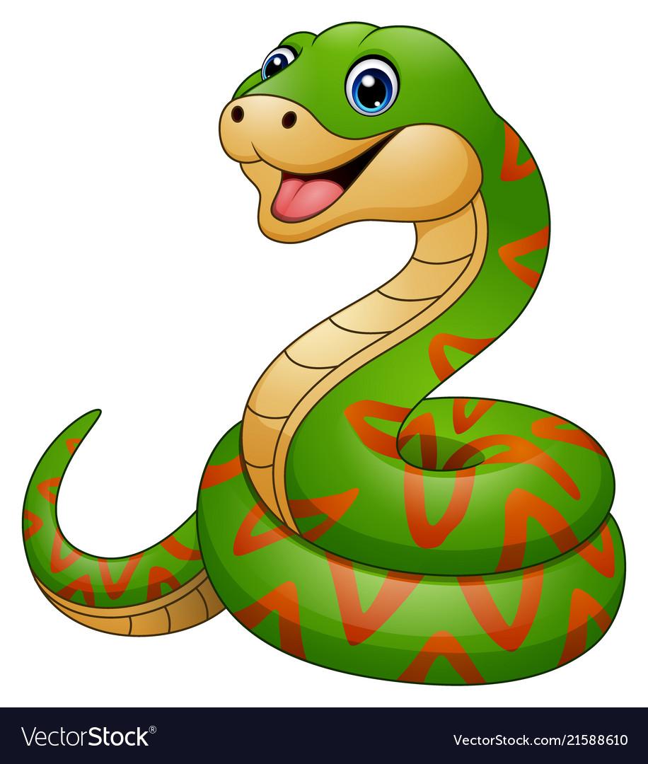 Green snake cartoon