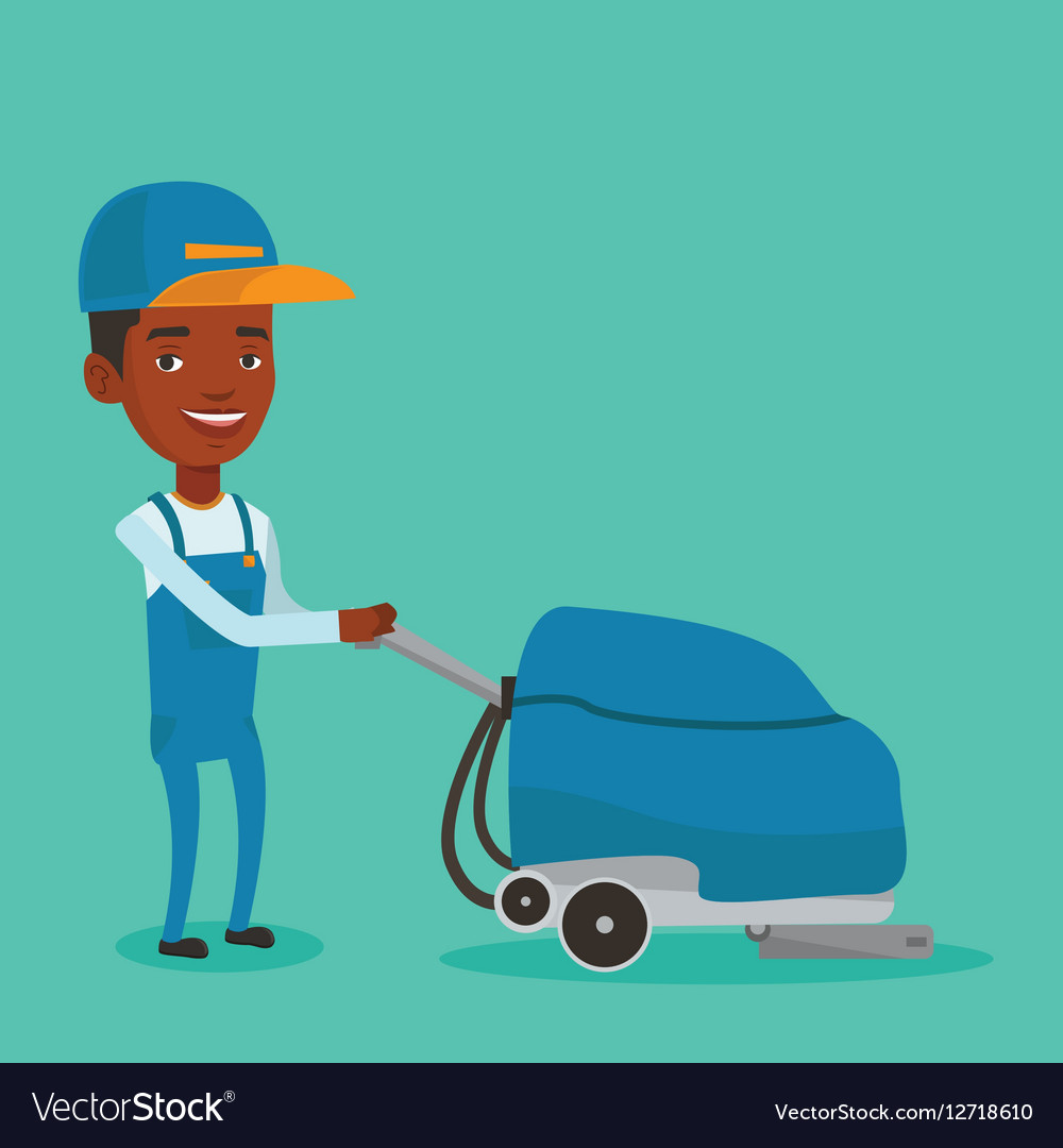 Male worker cleaning store floor with machine vector image