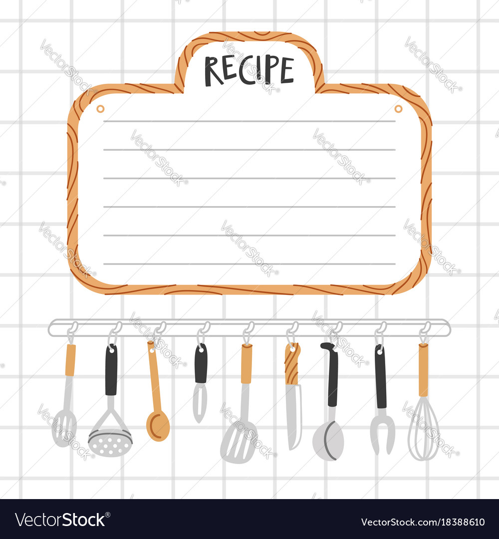 Recipe Template With Kitchen Utensils Royalty Free Vector