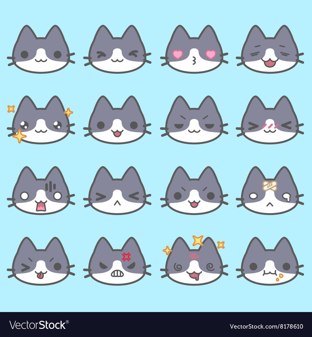 Set of simple cute cat emoticons