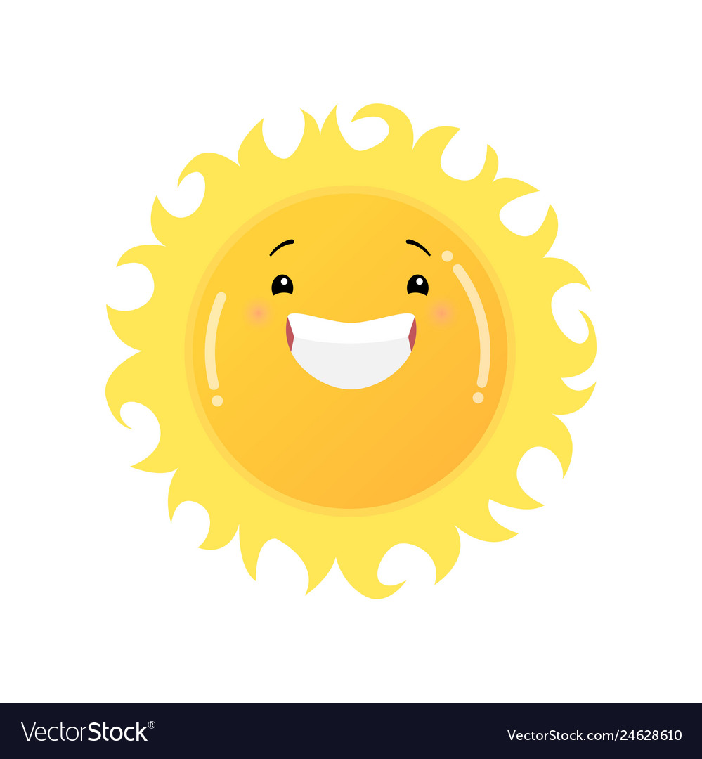 Smiling laughing yellow sun emoji sticker isolated