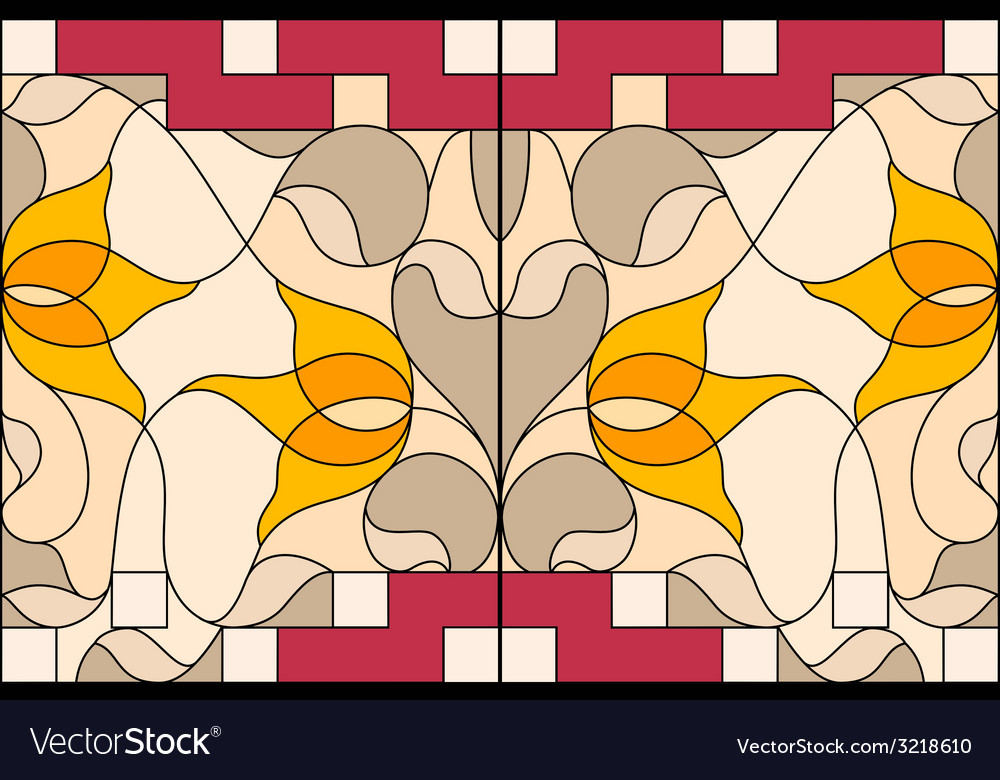 Stained glass window Composition of stylized