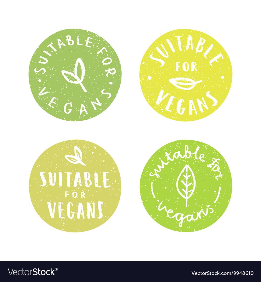 Suitable for vegans Set of vegan hand drawn