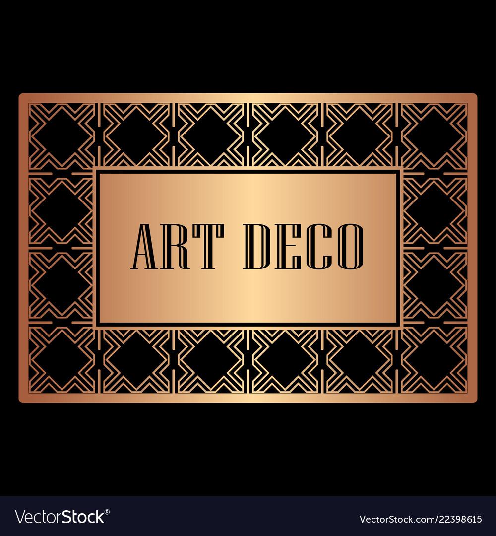 Art deco border frame Royalty Free Vector Image