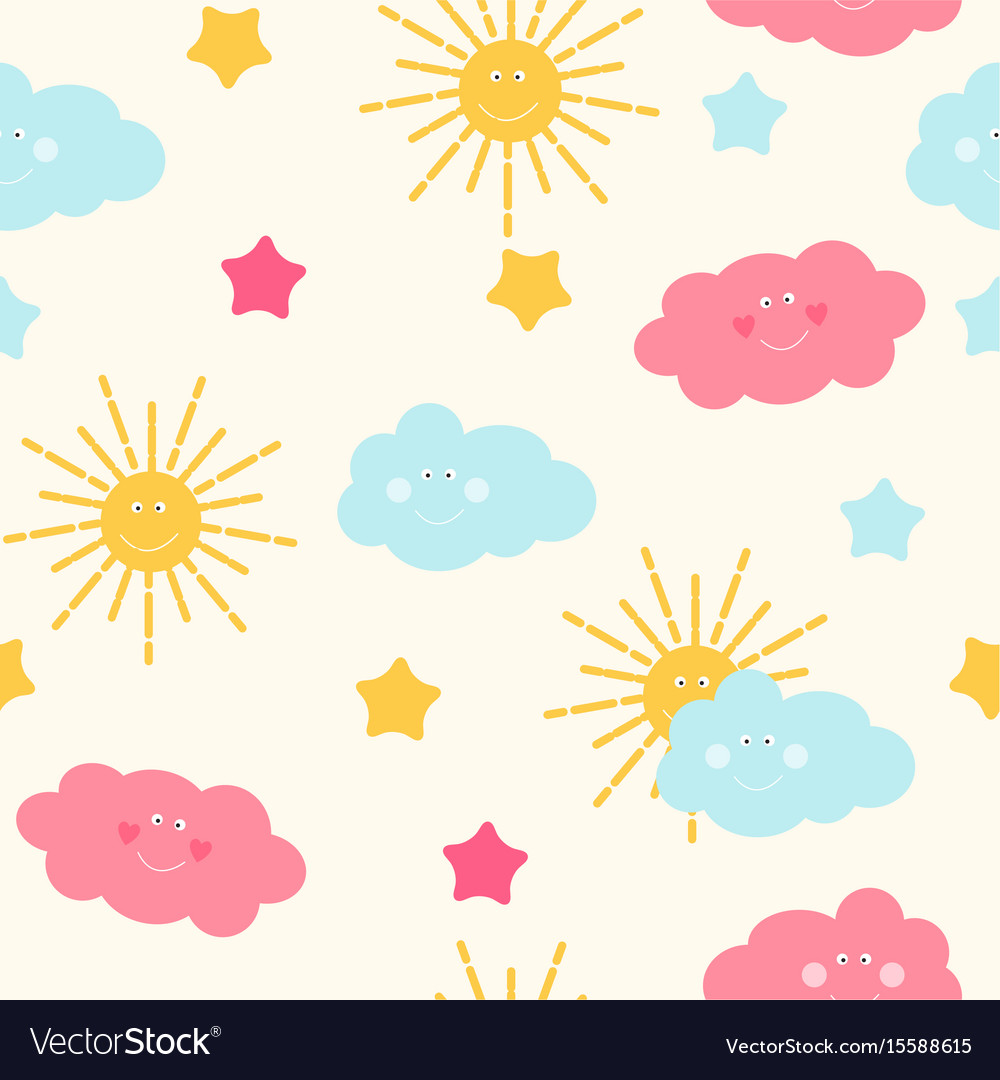 Children s seamless pattern background with sun