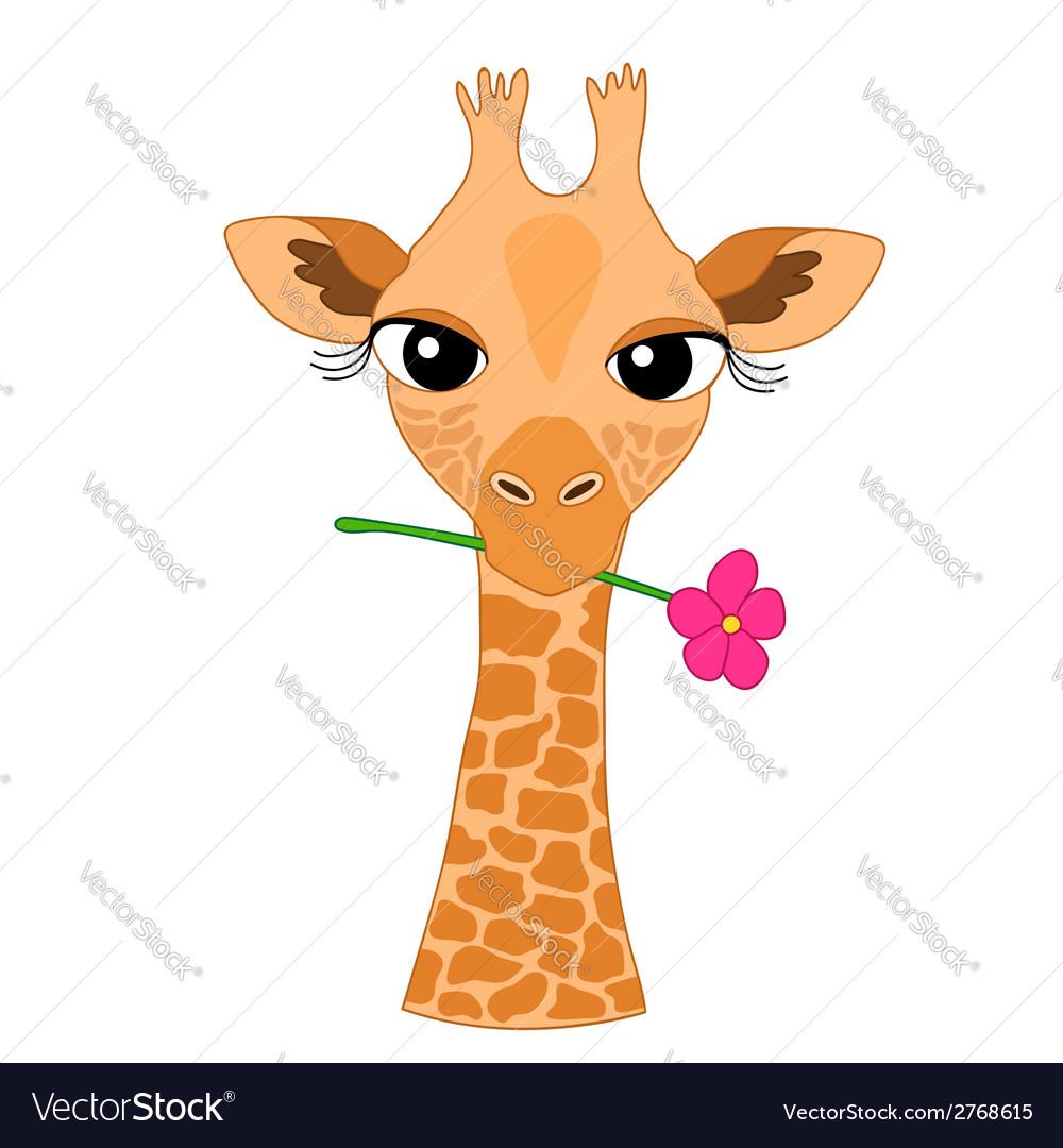 Cute Hand-drawn Cartoon Giraffe Holding a Flower vector image