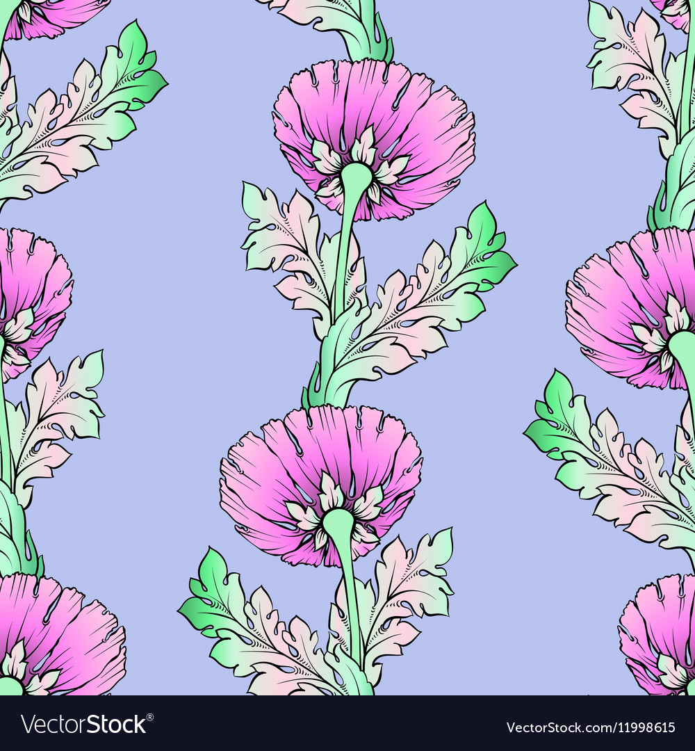 Garden pink flowers Seamless hand-painted soft vector image