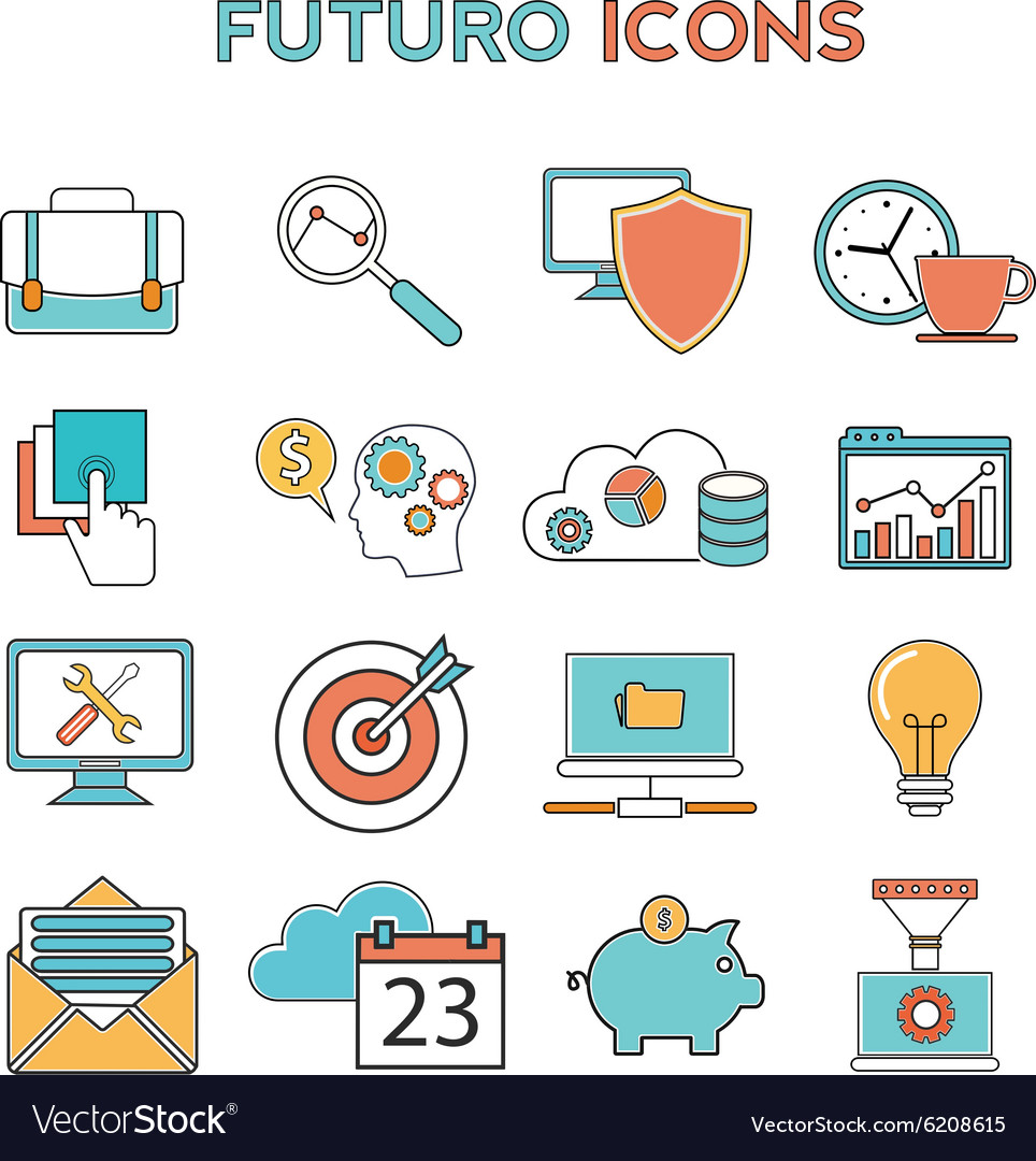 Line icons with flat design elements of business