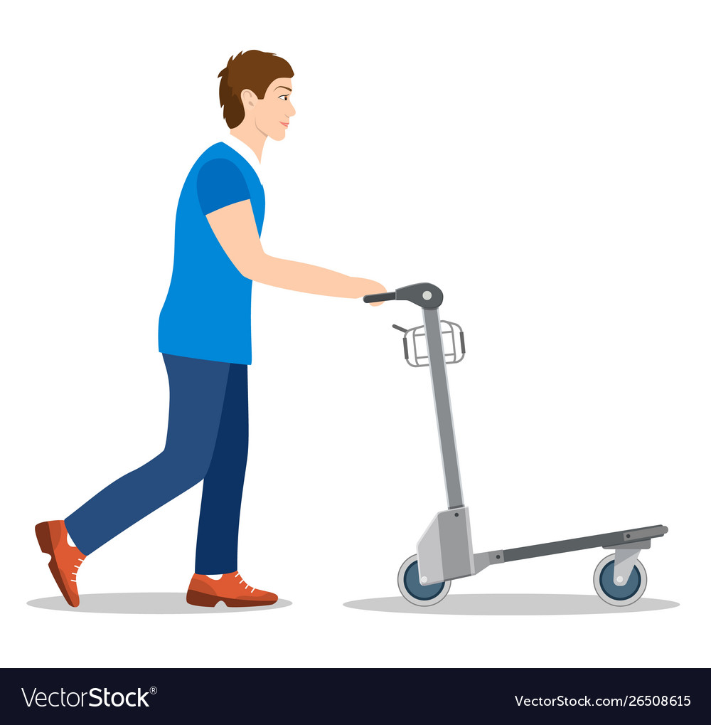 Man pushing luggage cart with suitcases