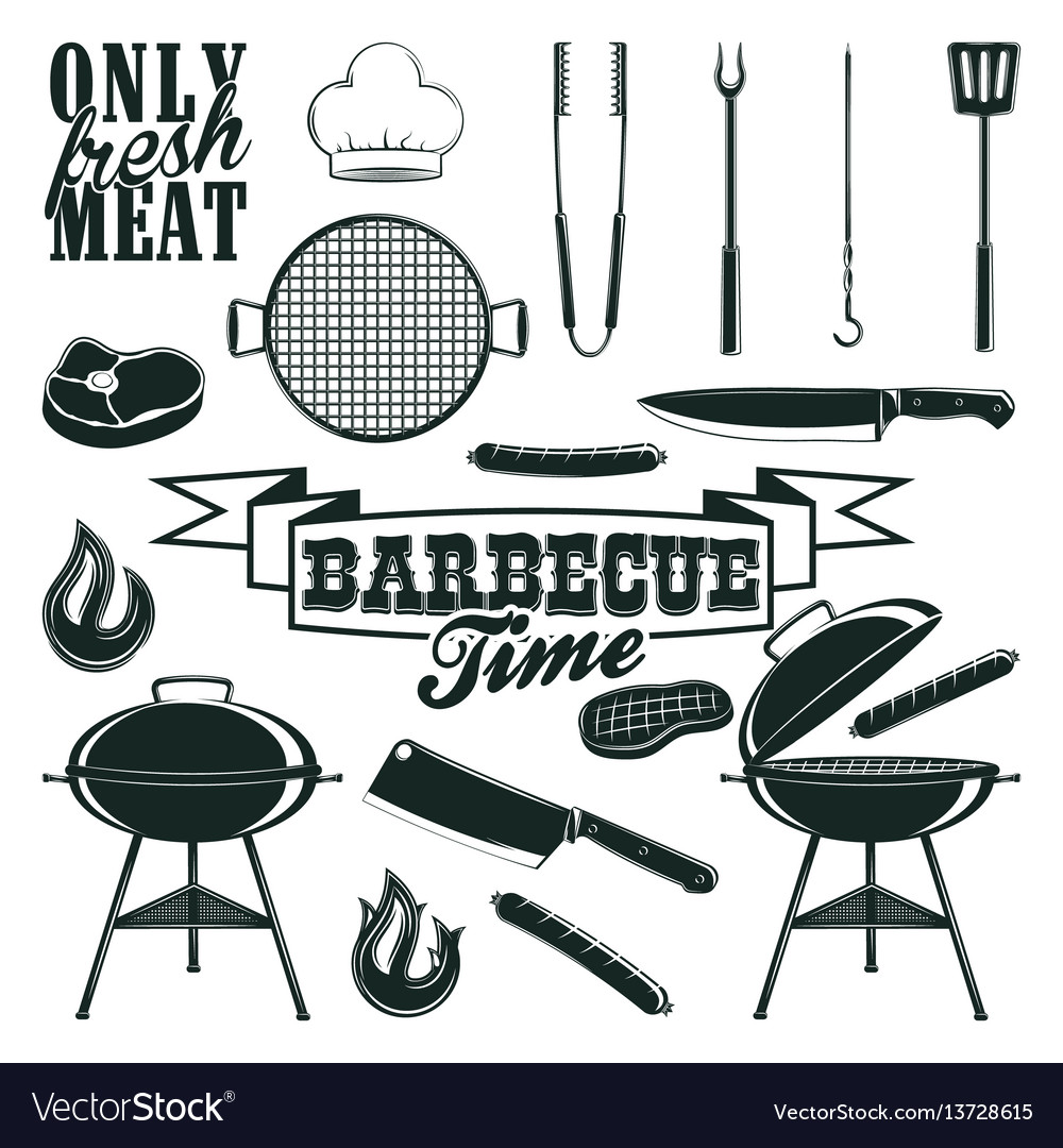 Monochrome barbecue icons set vector image