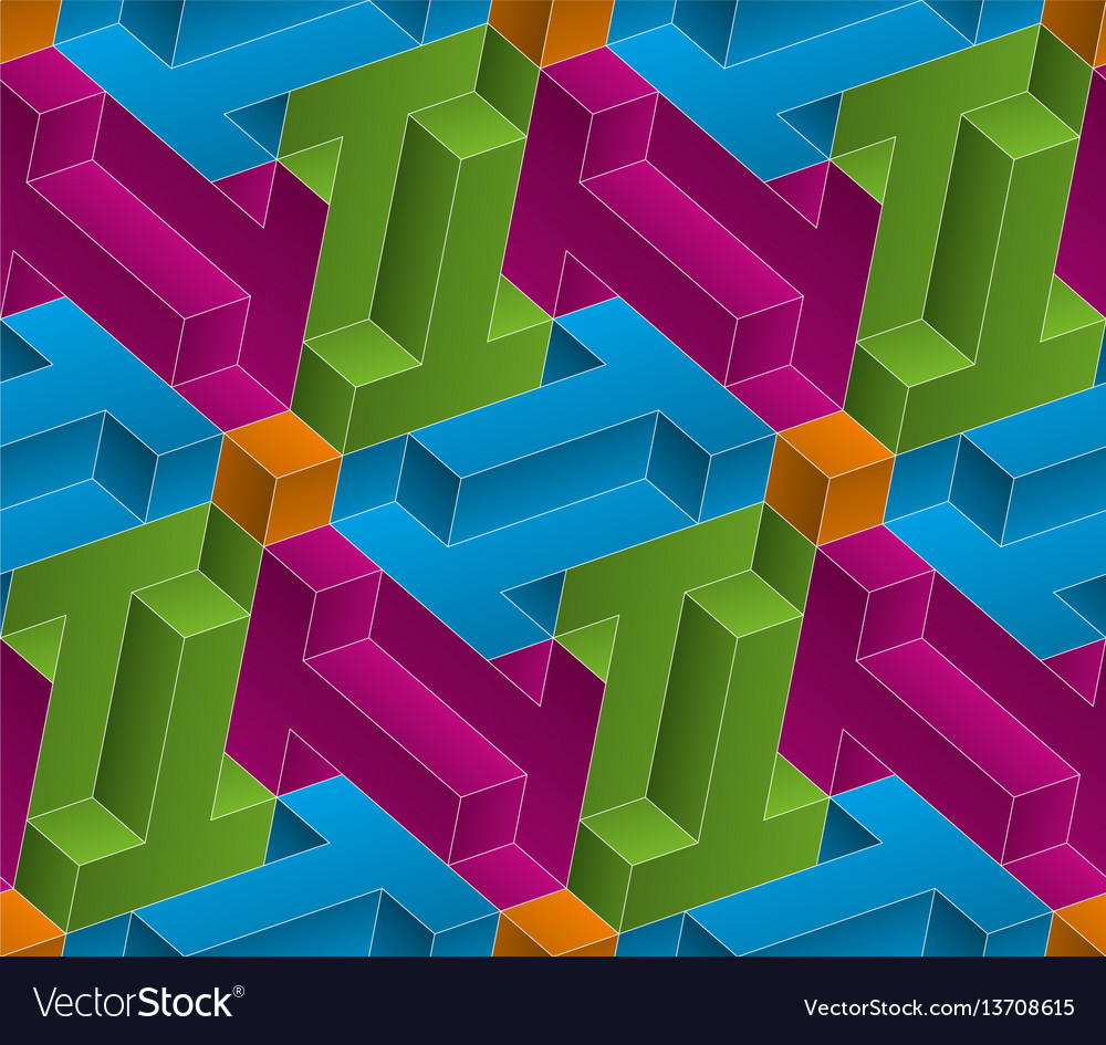 Multicolor isometric seamless pattern