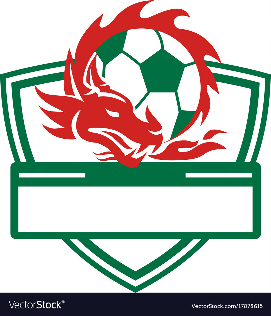 Charming Red Dragon Soccer Ball Crest Vector Image