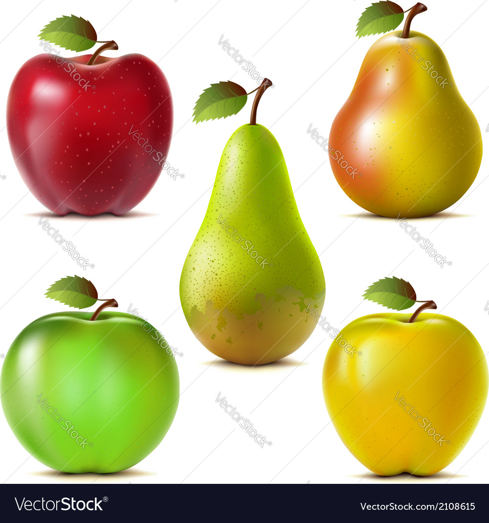 Set of apples and pears