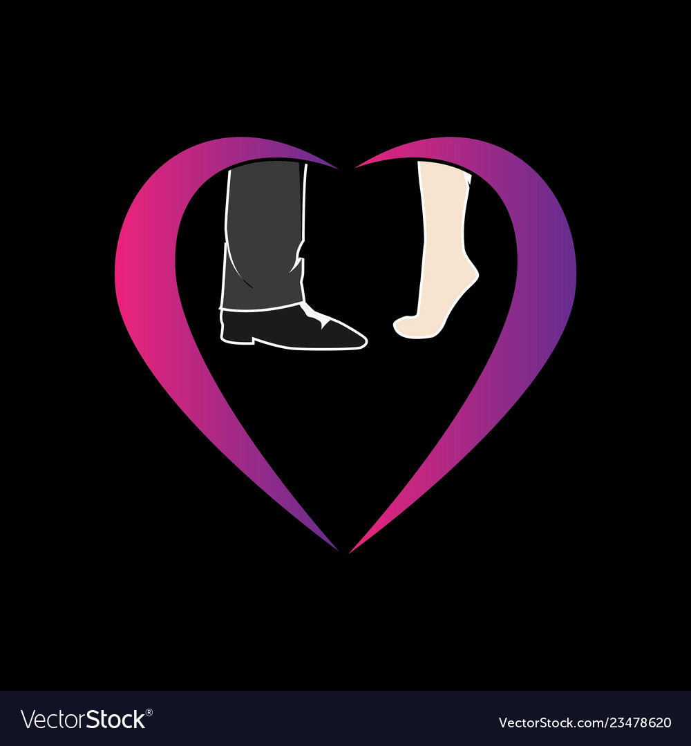 Barefoot guy and girl valentine symbol