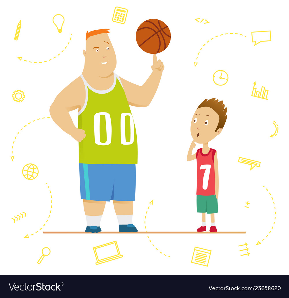 Big and little schoolboys at a physical education