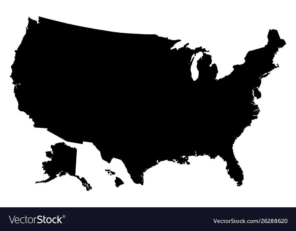 Black silhouette map united states america