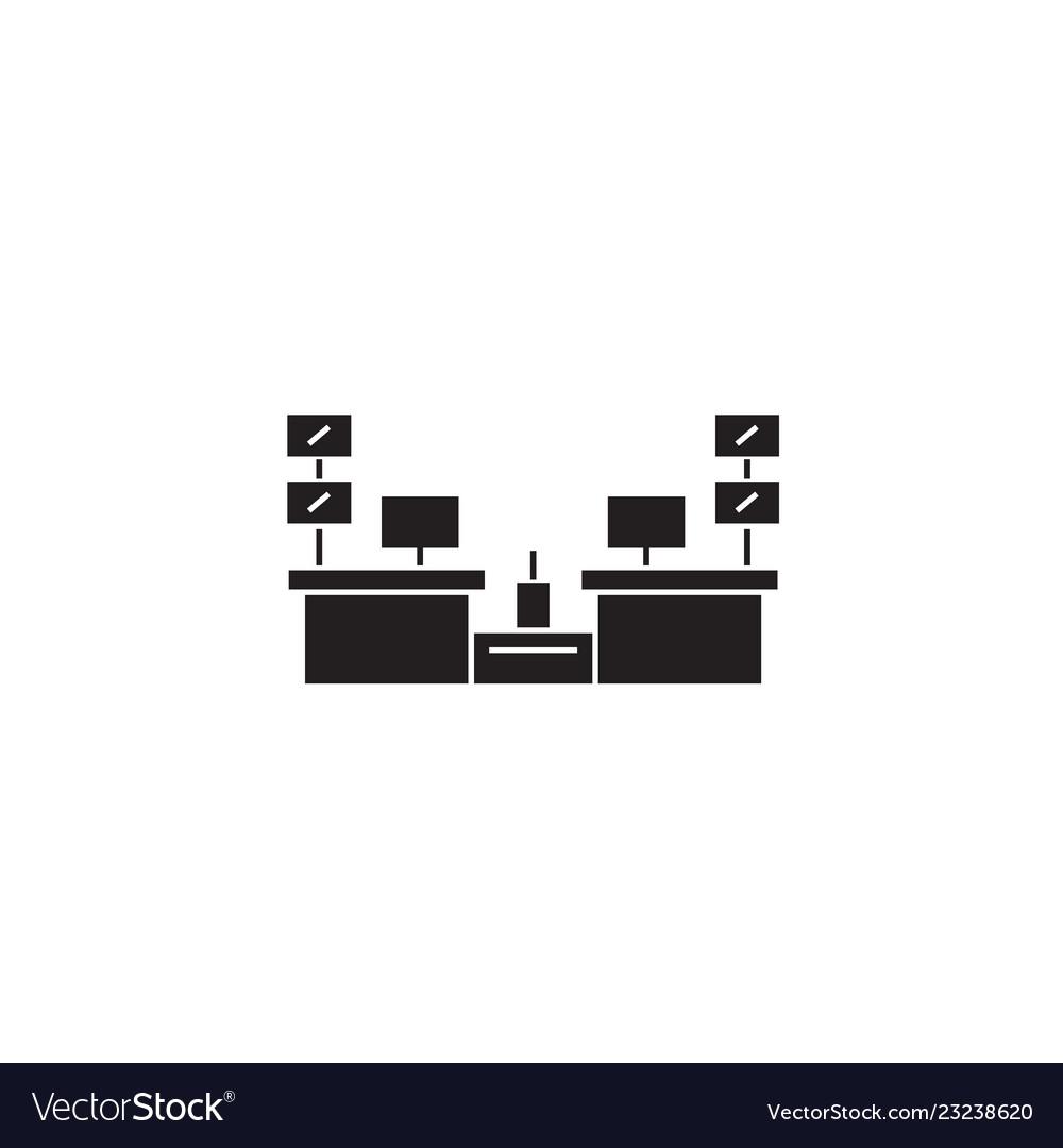 Cashier desks black concept icon cashier