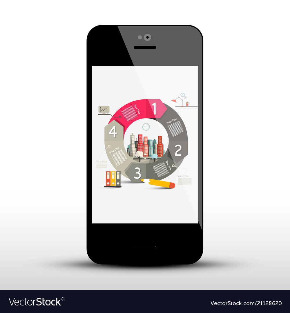 Circle infographic layout on mobile phone screen