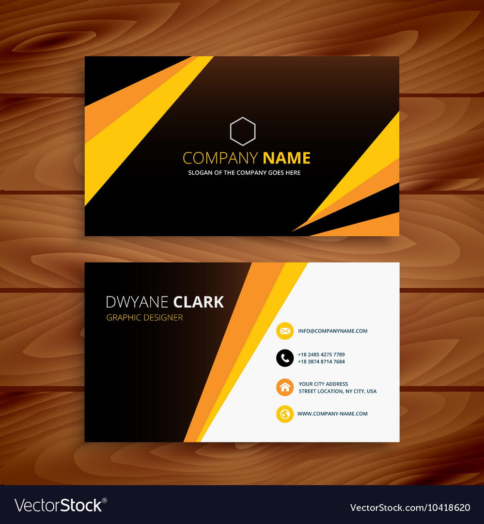 Creative yellow and black business card royalty free vector creative yellow and black business card vector image reheart Choice Image