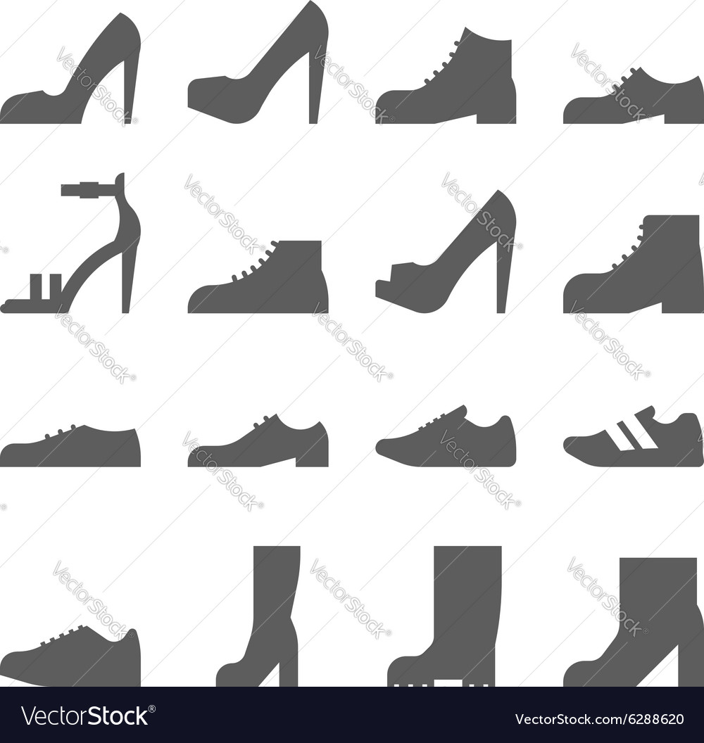 Footwear icon set collection of shoes