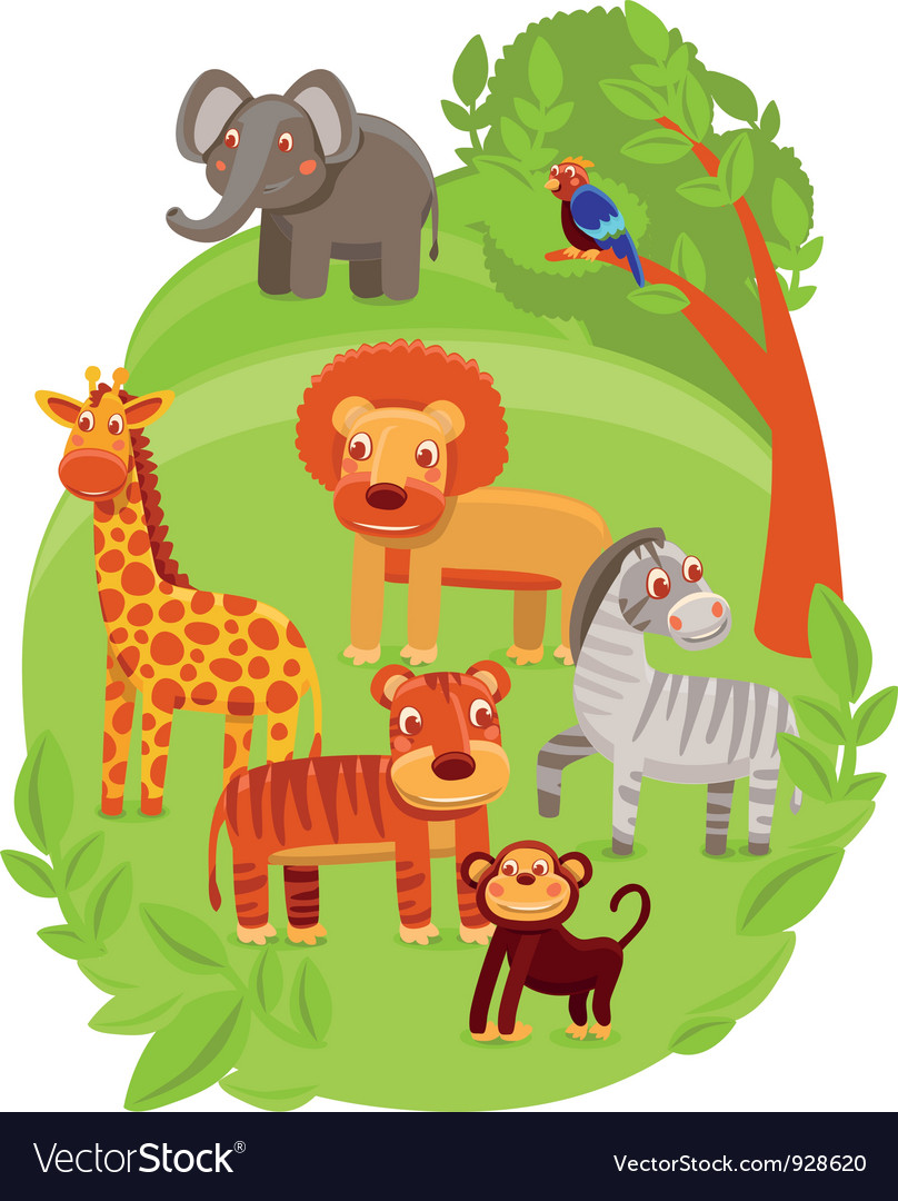Funny cartoon animals in green jungle