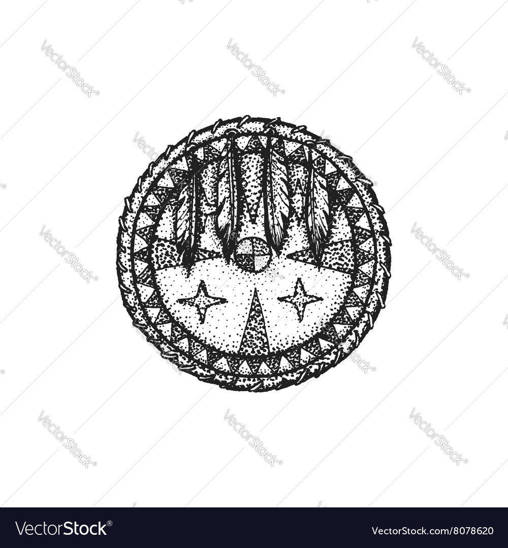 Hand drawn indian shield vintage