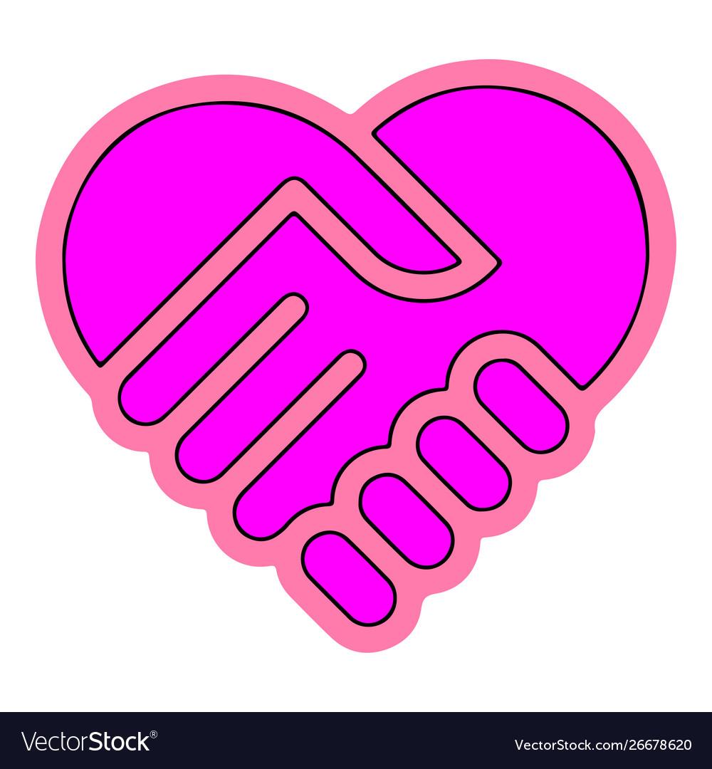 Heart handshake icon eps10