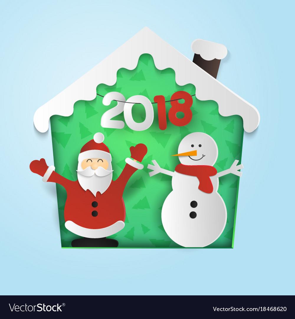 joyful santa and snowman celebrate new year 2018 vector image - Santa And Snowman
