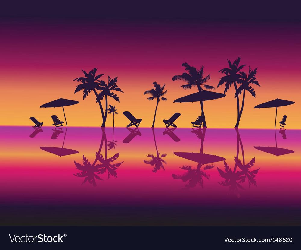 Night beach scene vector image