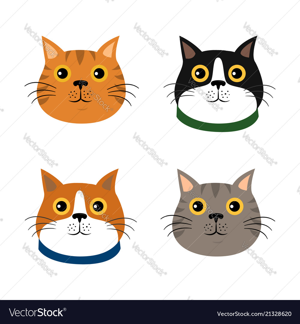Set of cute cats flat icons