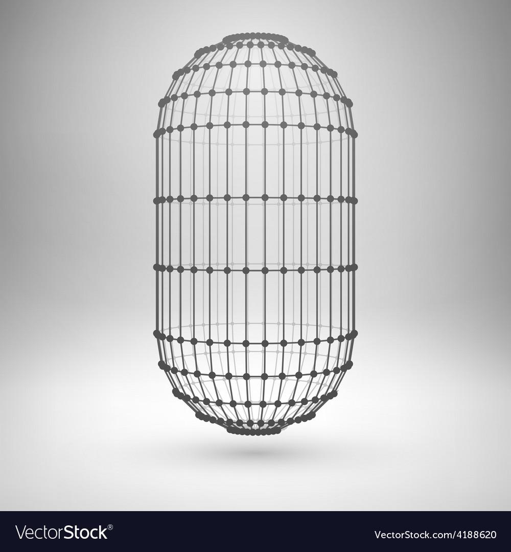 Wireframe mesh polygonal capsule Royalty Free Vector Image
