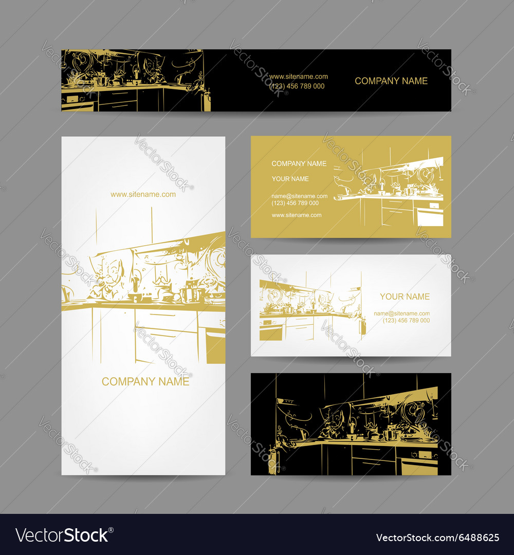 Business Cards Design Kitchen Sketch Royalty Free Vector