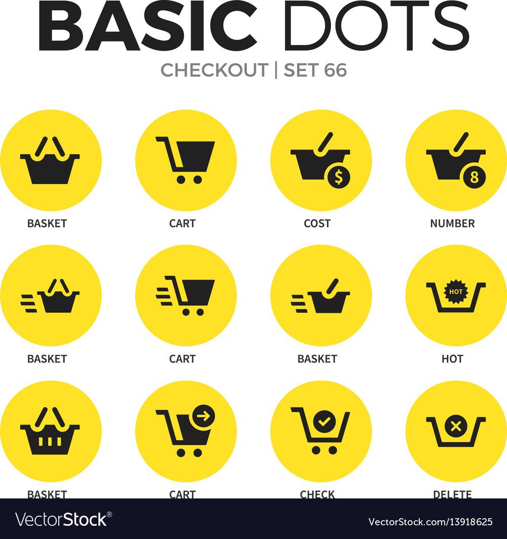 Checkout flat icons set