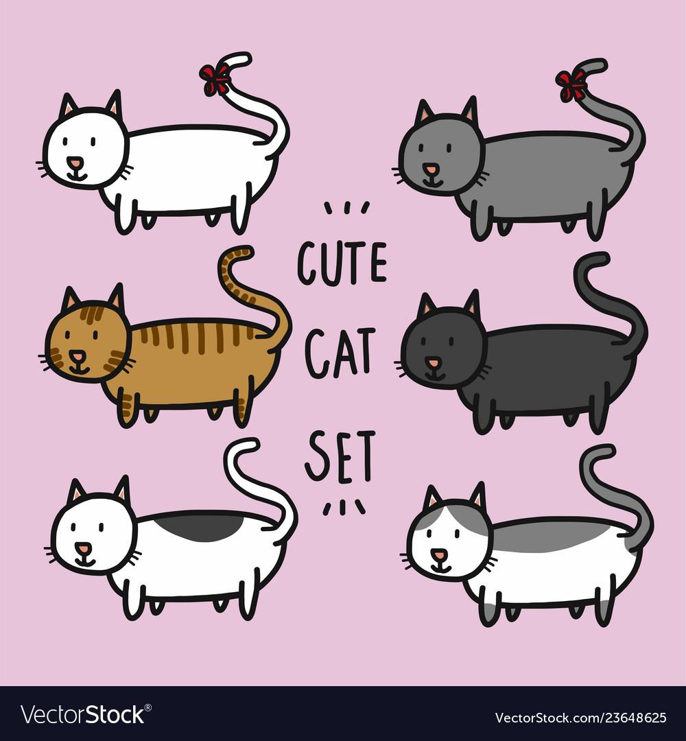 Cute cats set cartoon doodle