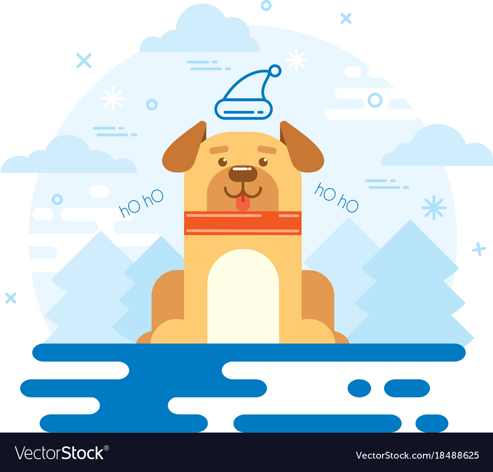 dog new year 2018 flat design vector image