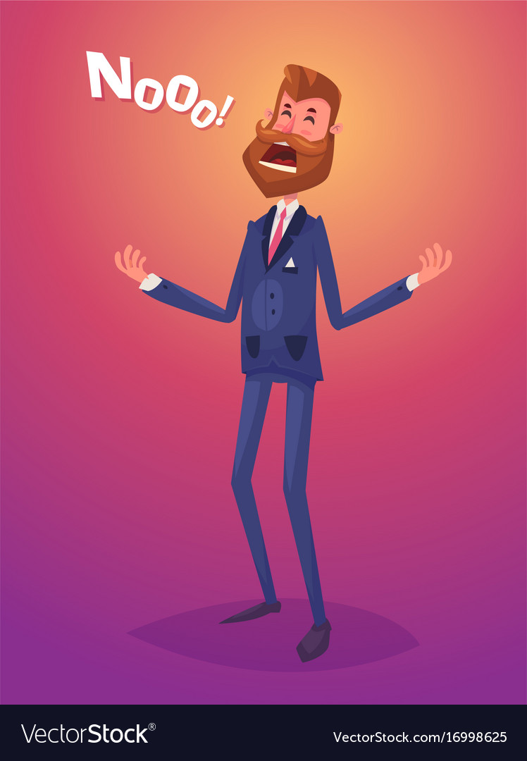 Funny disappointment business man character