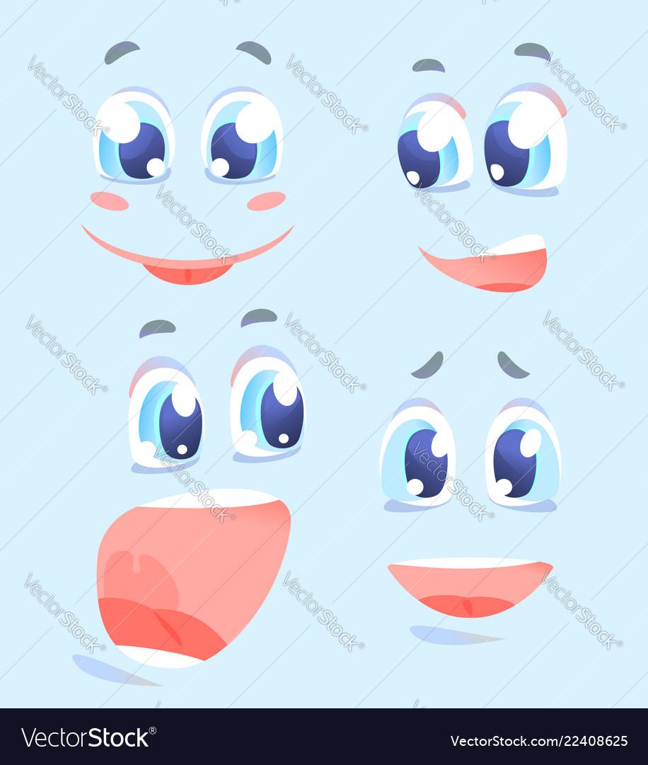Happy facial expressions cartoon set