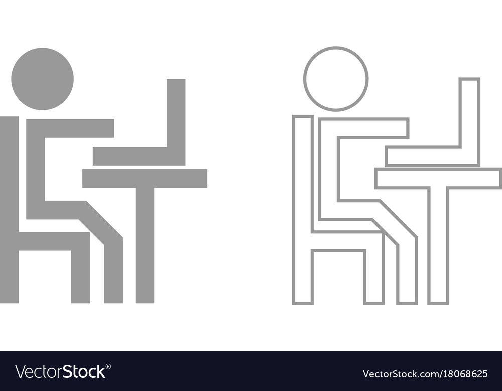 Human working at the laptop grey set icon