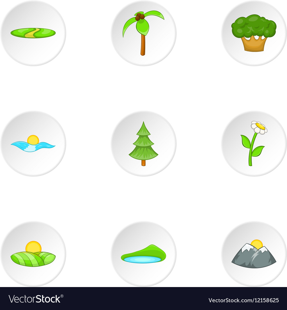 Landscape icons set cartoon style
