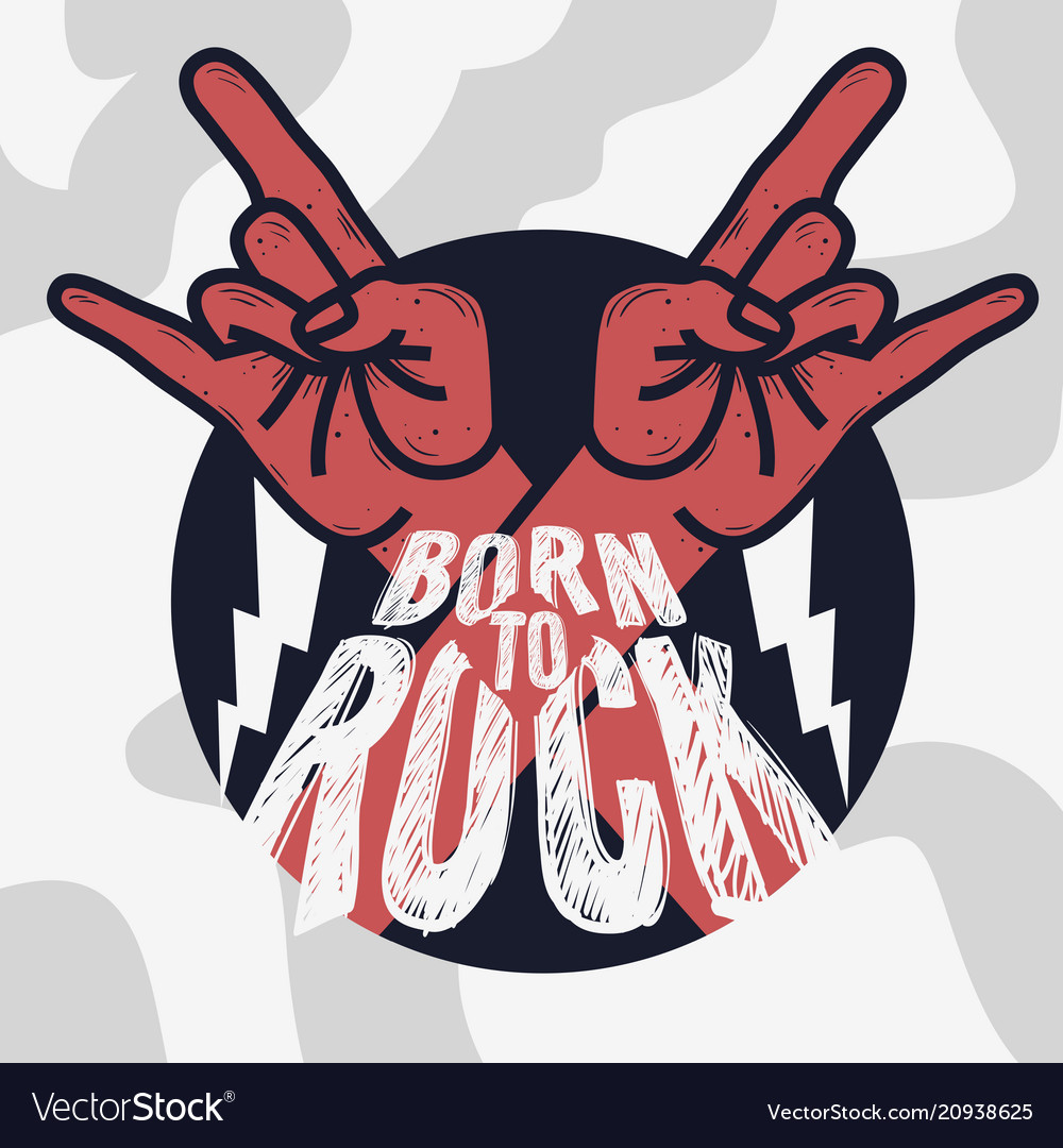 Rock design with devil horn hand gesture