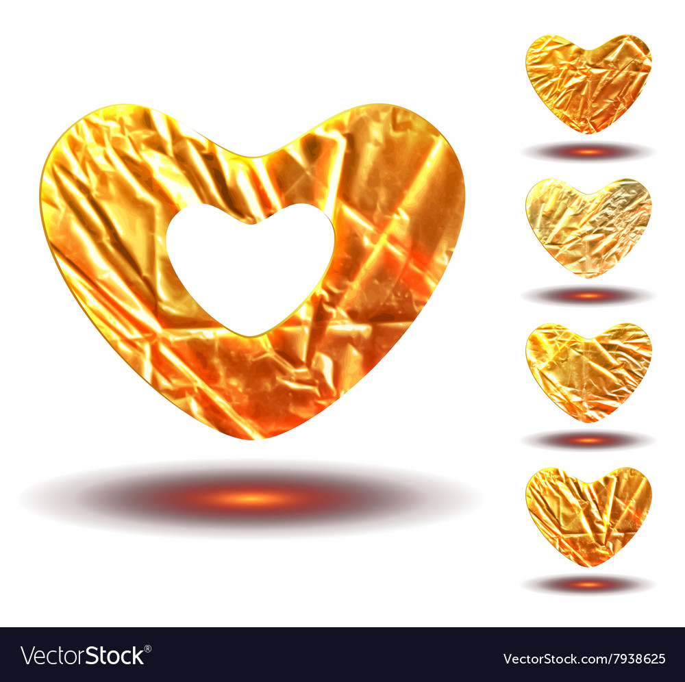 Set golden hearts