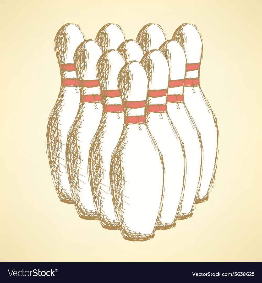 Sketch bowling pins in vintage style vector image