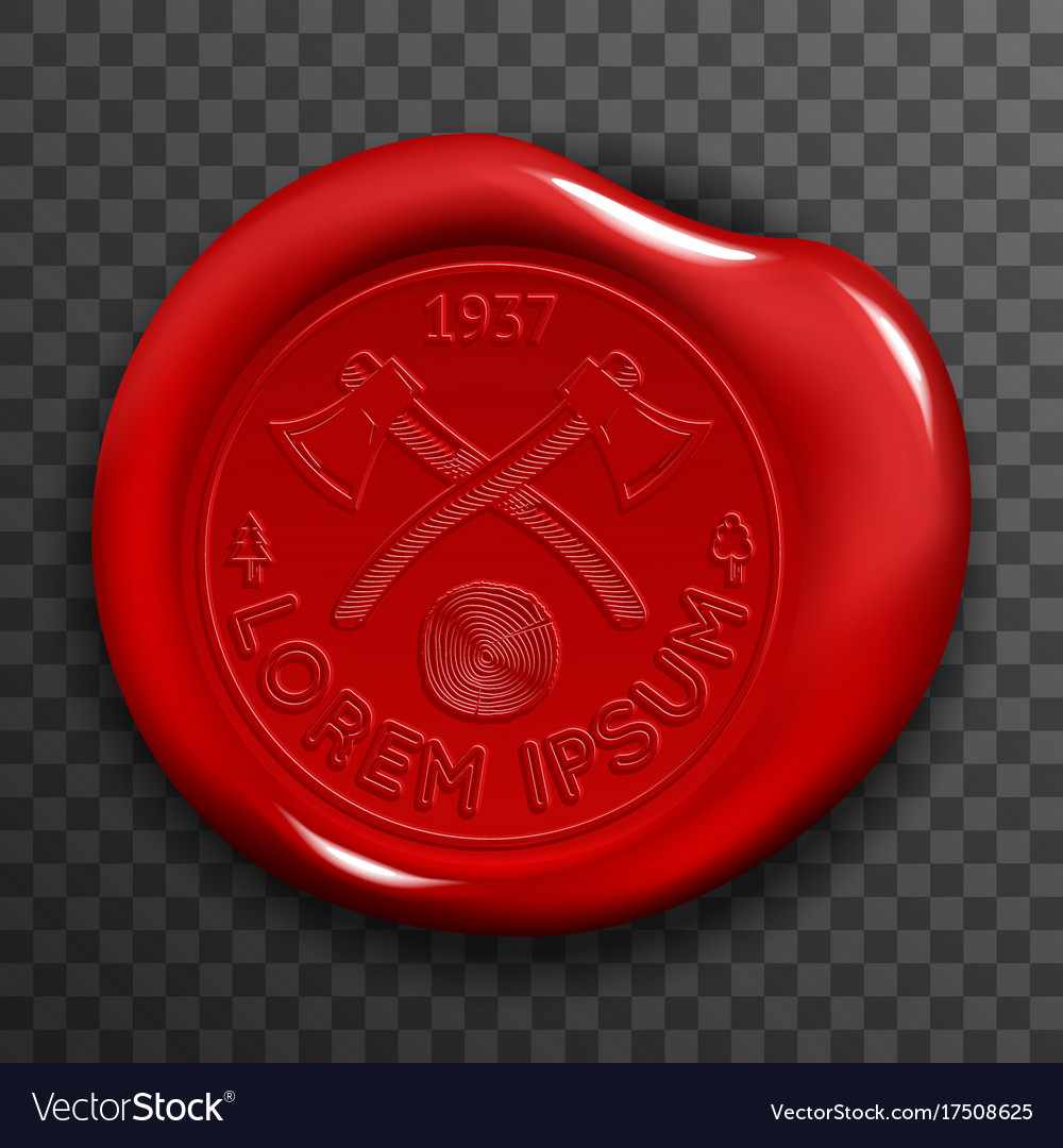 Wax seal stamp red certificate sign transparent vector image
