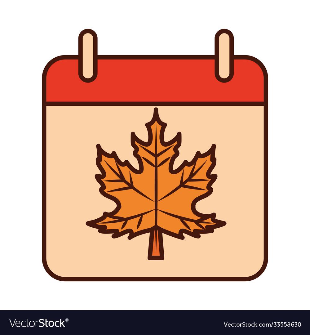 Autumn calendar reminder season line and fill icon