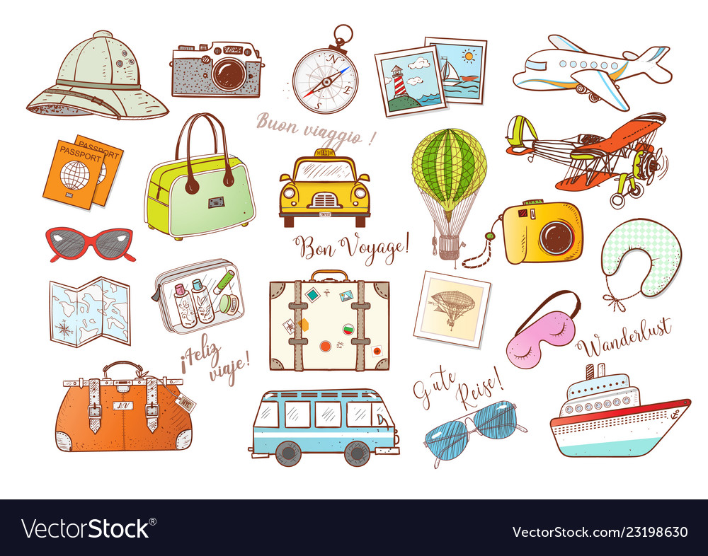 Colored travel doodles on white background vector