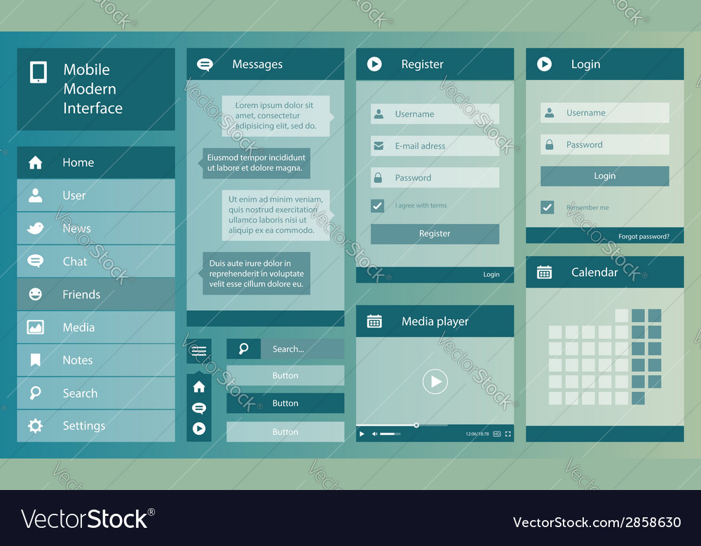 Flat design mobile interface