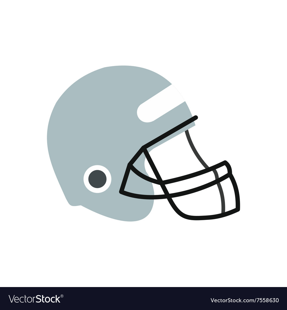 Football helmet with face mask flat icon